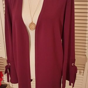 I.N.C. burgundy bell sleeves open front cardigan.